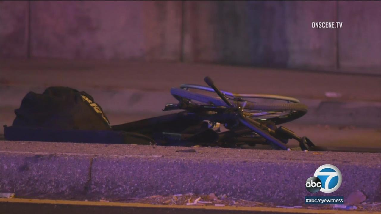 A man in a wheelchair died after he was hit by a car on a busy street in Long Beach Sunday night.