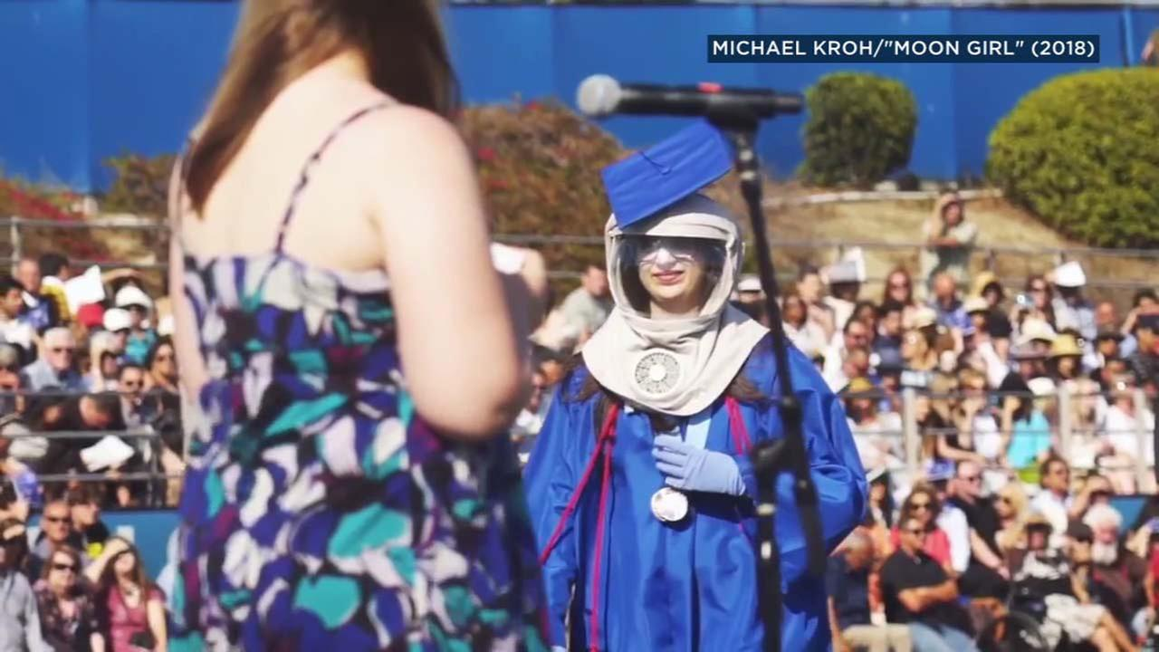 Riley McCoy is seen at the Dana Hills High School graduation ceremony.