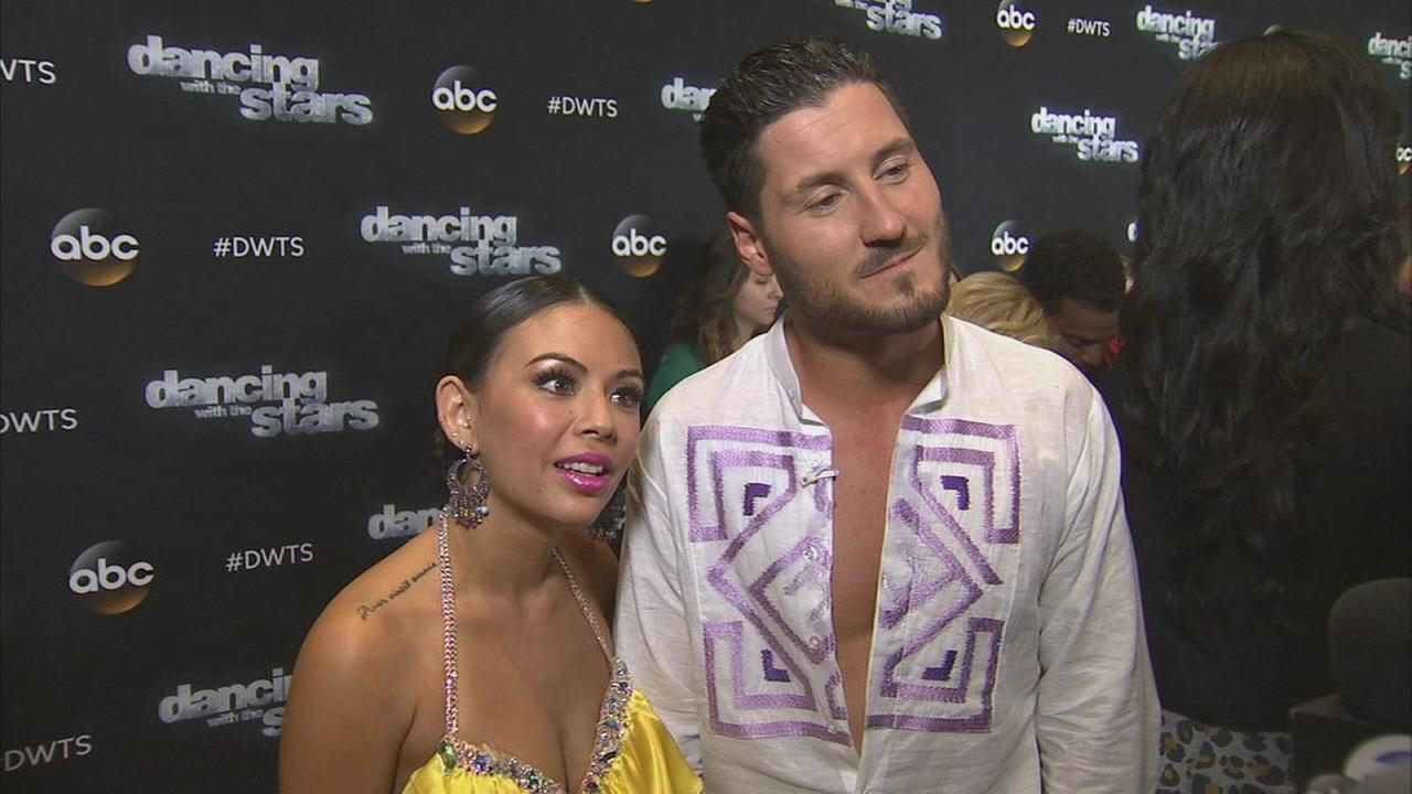 Janel Parrish and Val Chmerkovskiy on Dancing With The Stars week 6 on Monday, Oct. 20, 2014.