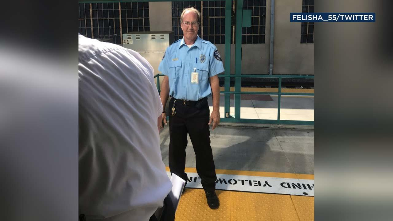 This screen shot from Metrolink passenger Felisha Carrasco shows a security guard who Carrasco says made a racist remark about Hispanic passengers.