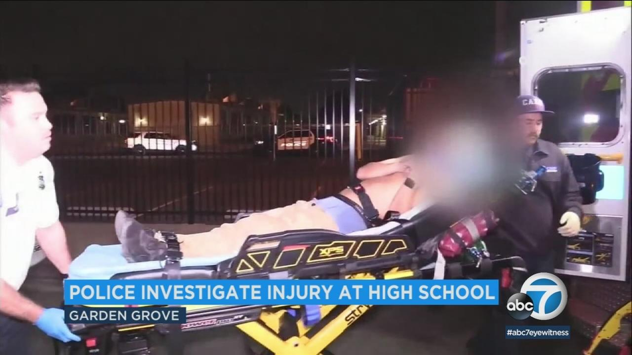 A teen was injured at the Garden Grove High School campus Wednesday morning, and it apparently stemmed from a senior prank gone wrong.