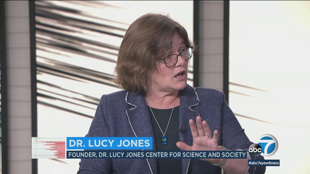 Dr. Lucy Jones is shown during an interview at the ABC7 studios.