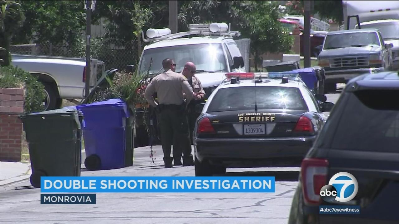 Authorities are searching for the suspect or suspects in a shooting that left two people injured in Monrovia Thursday morning.