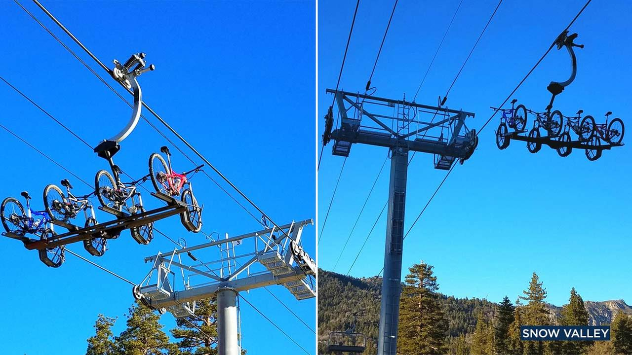 These photos from Snow Valley Mountain Resort show ski lifts equipped with bike racks.