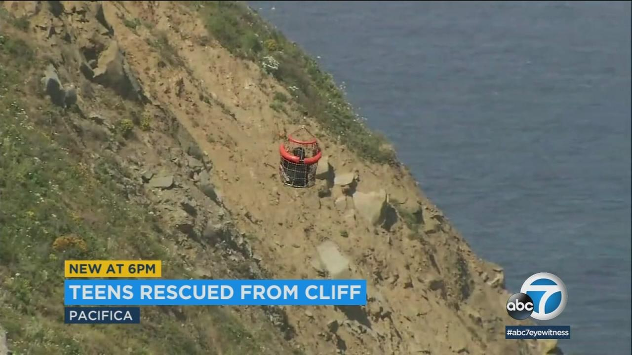 California Highway Patrol deployed a helicopter to rescue two 13-year-old girls and a 23-year-old man who were trapped 600 feet down a Northern California cliff.