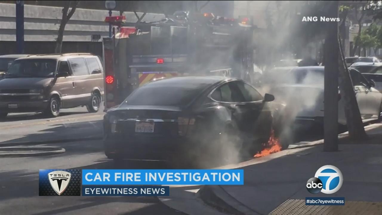 Actress Mary McCormack said a Tesla that burst into flames on a West Hollywood street belongs to her husband, director Michael Morris.