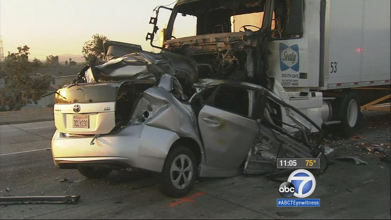 A wrong-way driver was killed after crashing head-on into a big rig on the northbound 15 Freeway in Rancho Cucamonga on Wednesday, Oct. 22, 2014.