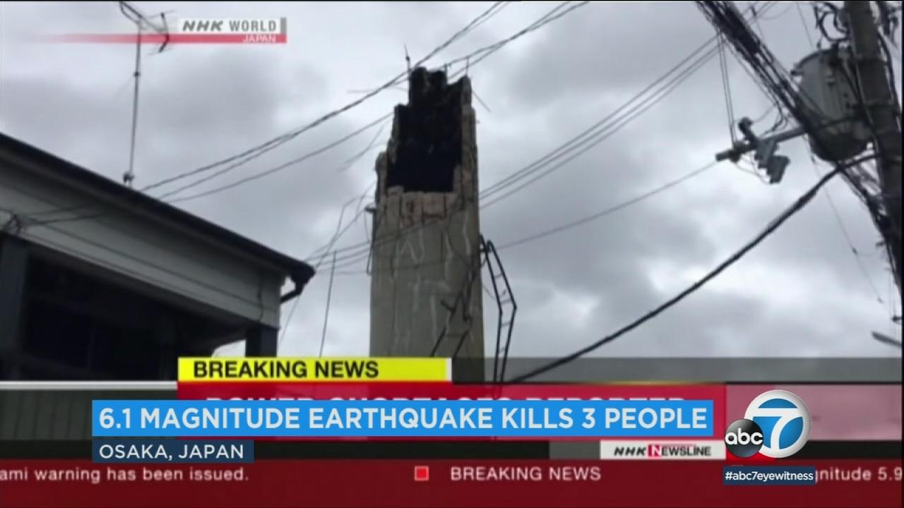Damage from the 6.1-magnitude earthquake is shown in Japan.