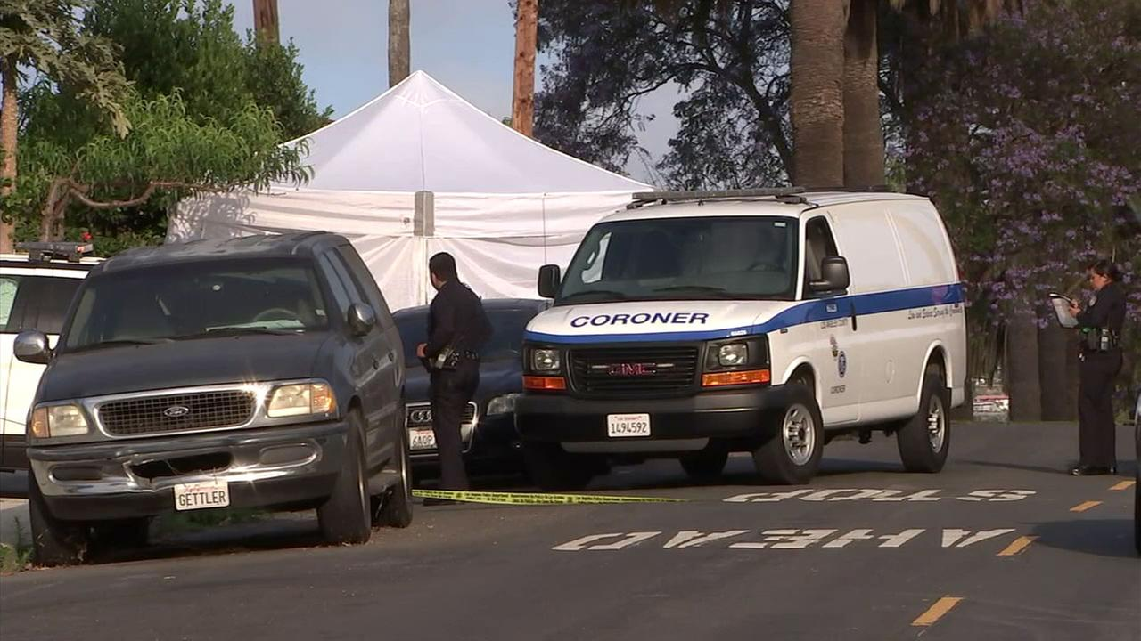 Crime tape surrounds a scene where, police say, a 27-year-old woman was found shot in a car that crashed on a San Pedro street early Monday, June 18, 2018.