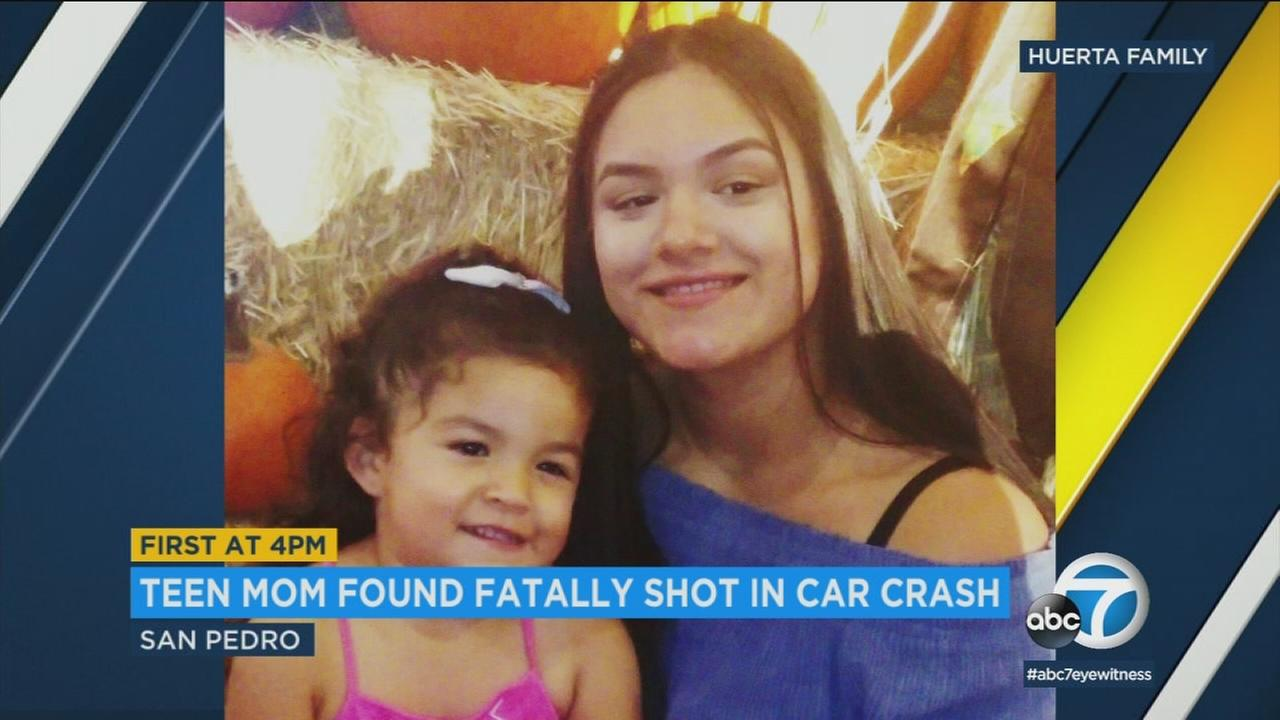 Kayla Huerta, 17, the mother of a 3-year-old girl, was found shot to death in a car that crashed in San Pedro.