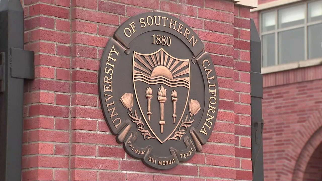 The symbol on a USC campus building is shown in a file photo.