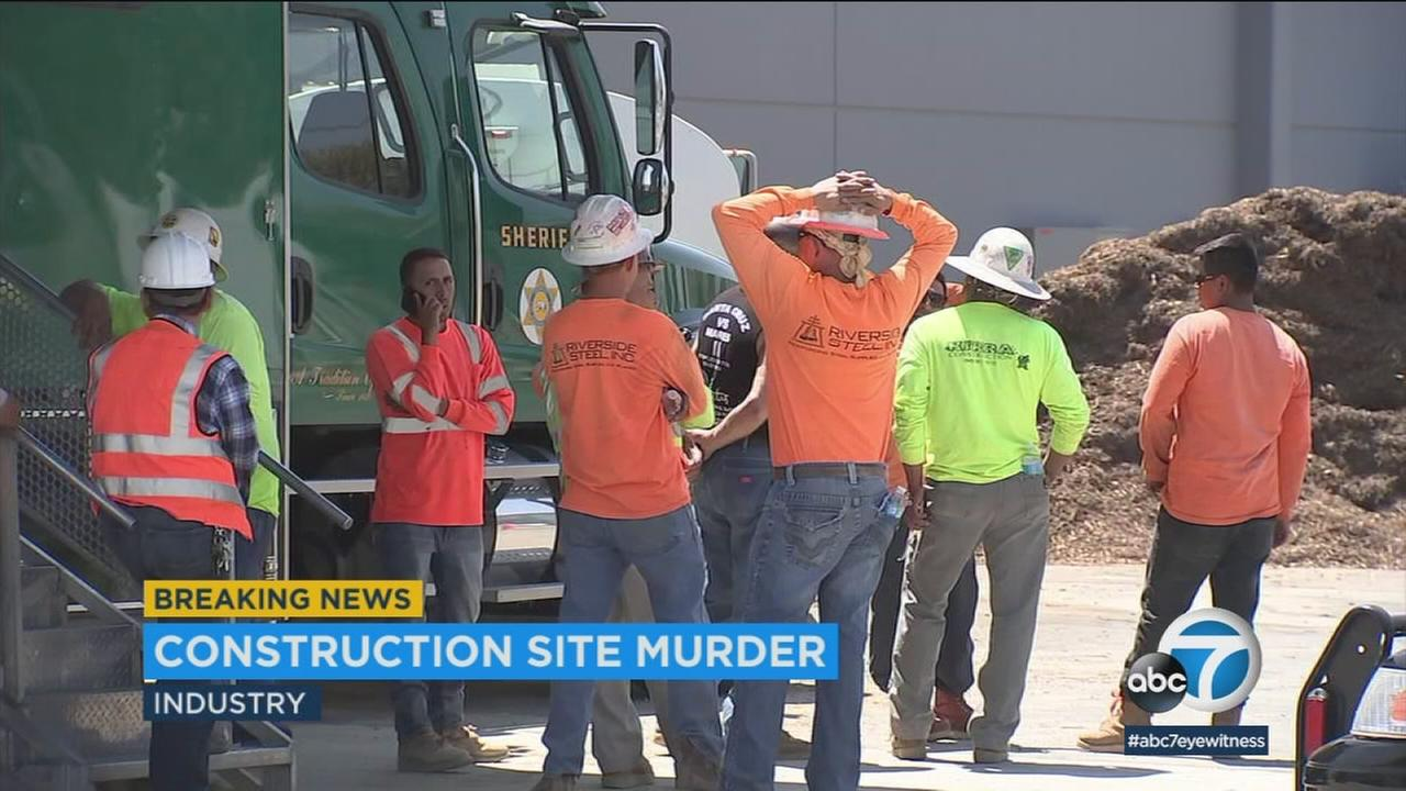 A gunman donned a mask and hard hat to shoot a man at a construction site Monday in the City of Industry, officials said.