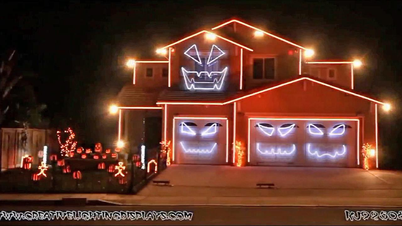 A Halloween light show is seen at a home in Riverside in this undated file photo.