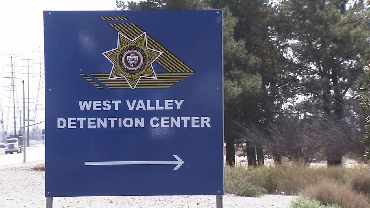 A sign to the entrance of the West Valley Detention Center in Rancho Cucamonga is seen.