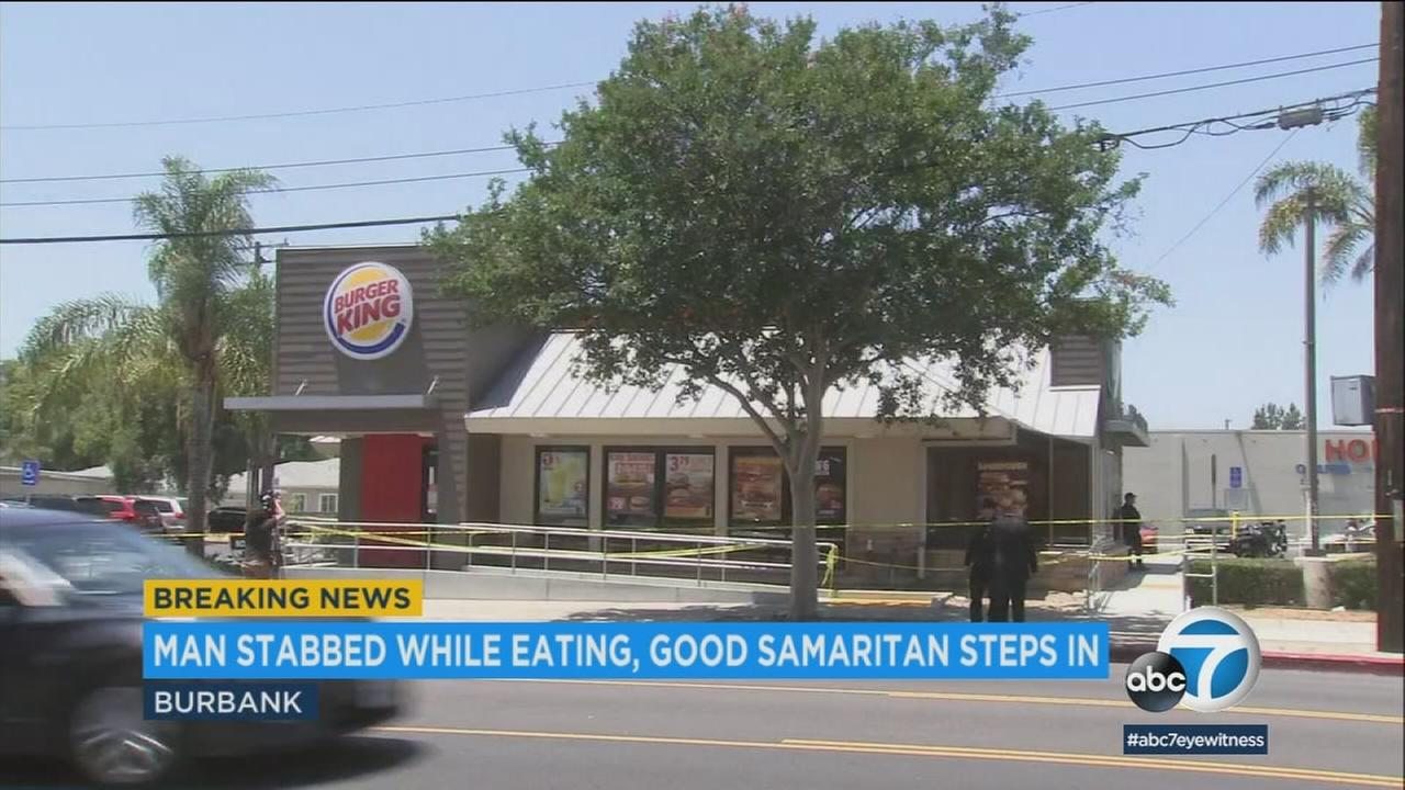 A man in his 70s was stabbed in the face in an apparent random attack at a Burbank Burger King by a suspect who was stopped by a good Samaritan.