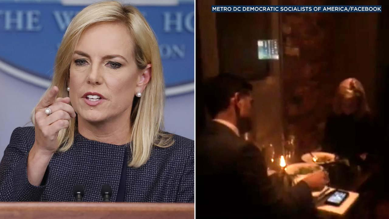 Homeland Security Secretary Kirstjen Nielsen was met with protesters as she dined at a Mexican restaurant on Tuesday, June 19, 2018.