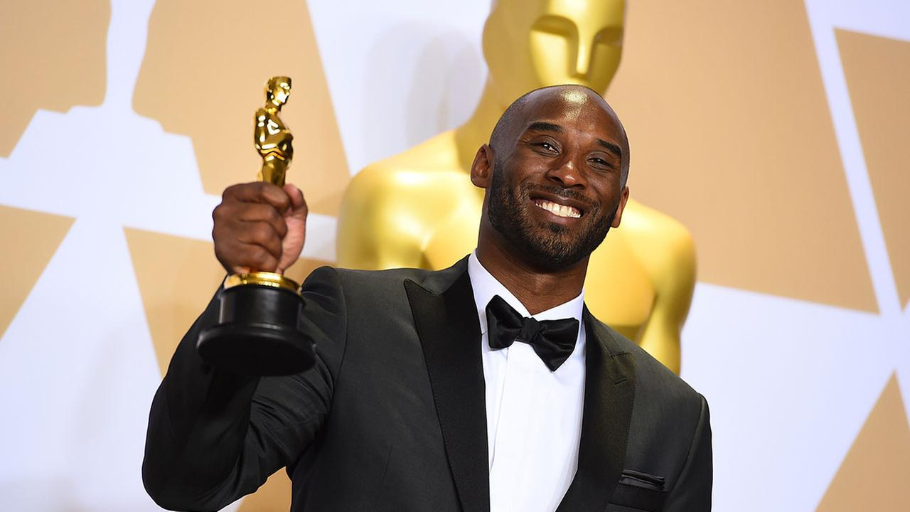Kobe Bryant, winner of the award for best animated short for Dear Basketball, poses in the press room at the Oscars on Sunday, March 4, 2018, at the Dolby Theatre in Los Angeles.