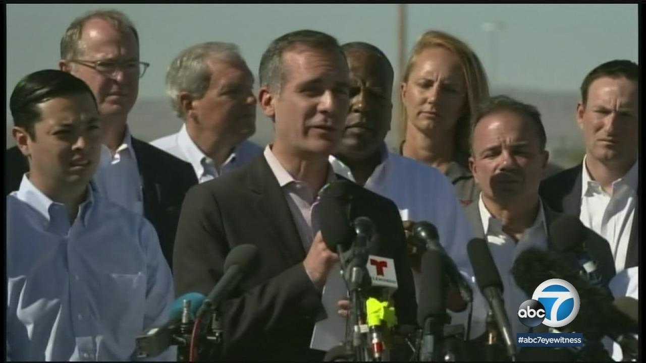 Los Angeles Mayor Eric Garcetti is shown during a news conference in Texas to condemn Trumps family separation policy.