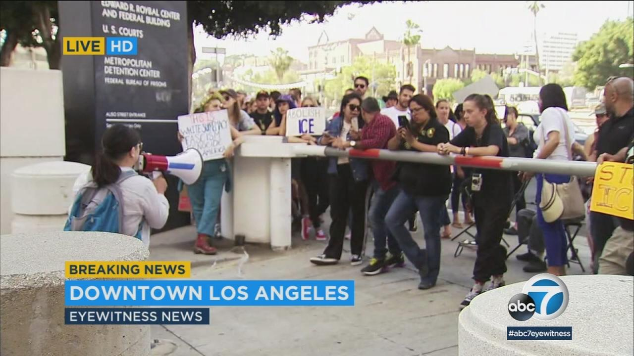 More than 60 people have gathered in downtown L.A., where they plan to camp out all weekend to protest the Trump administrations treatment of immigrants.