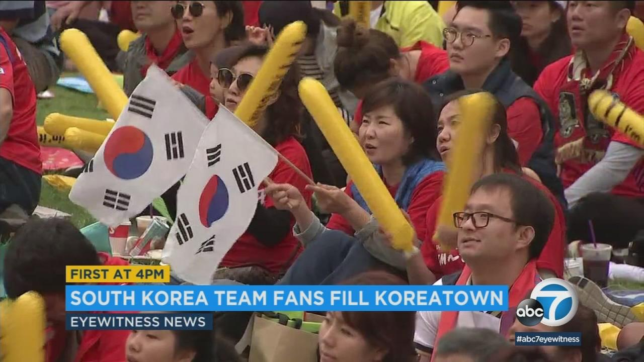 South Korea soccer fans gathered in Koreatown to watch Saturdays World Cup match against Mexico.