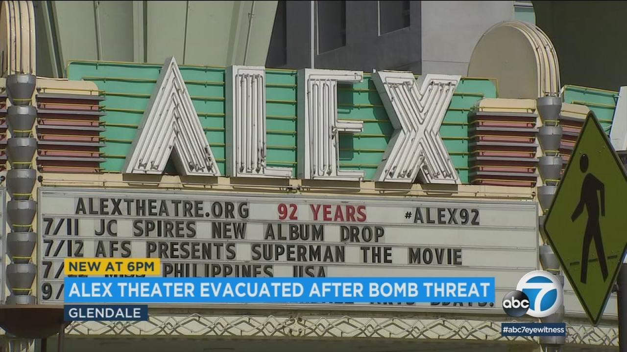 A performance at the Alex Theatre had just begun on Saturday when everyone was ordered to leave the building because of a bomb threat that police later determined to be unfounded.