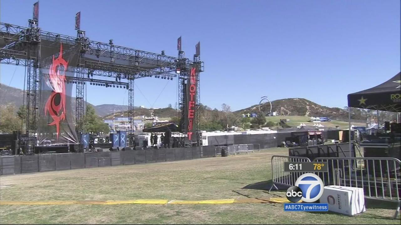 Organizers get Knotfest ready before the fans arrive on Friday, Oct. 24, 2014.