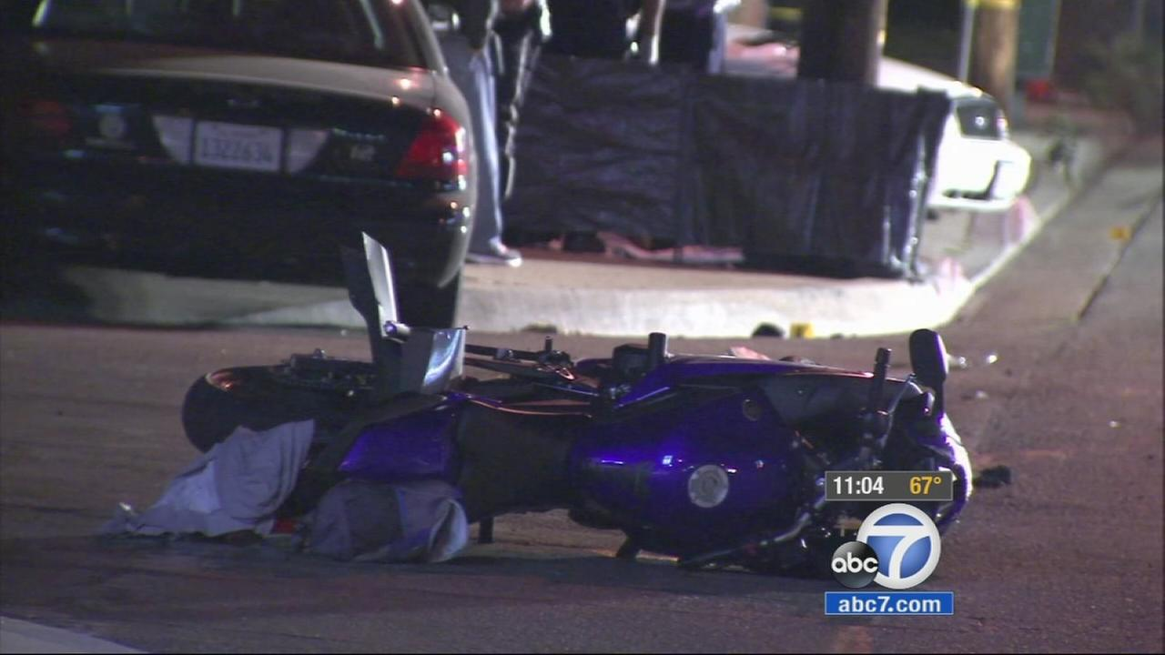 A motorcycle belonging to a victim of a high-speed crash in Montebello lays on the floor on Friday, Oct. 24, 2014.