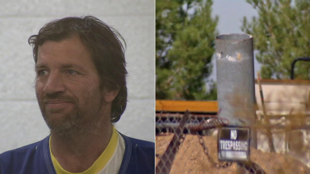 Left: Robert Webster, 54, appears in court Monday, Oct. 27, 2014. Right: An apparent homemade cannon found in Websters yard.