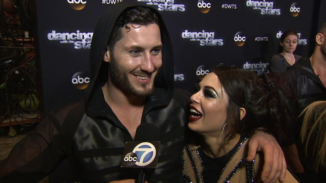 Janel Parrish and Val Chmerkovskiy on Dancing With The Stars week 7 on Monday, Oct. 27, 2014.