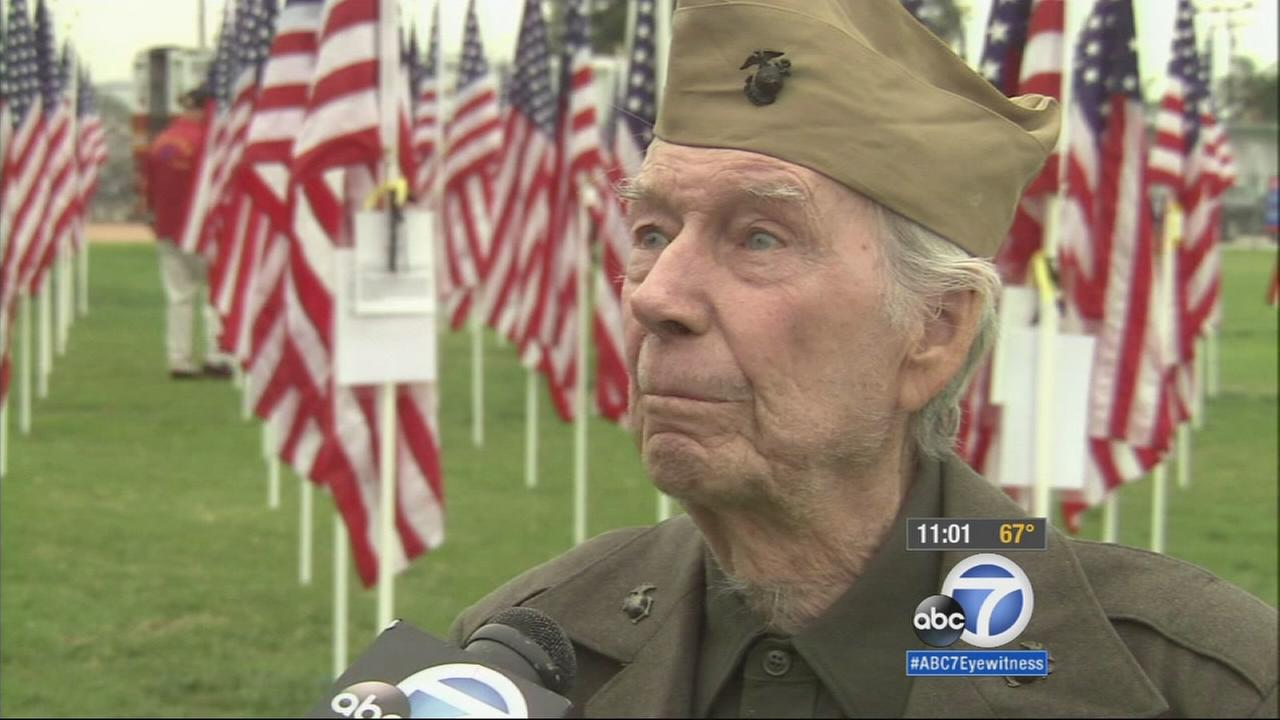 A special Veterans Day ceremony is taking place Tuesday at a Covina middle school, where a field covered in American Flags honors those who fought for our country.
