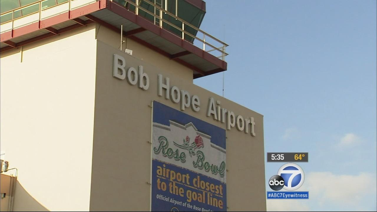 A sign for Bob Hope Airport in Burbank is seen in this undated file photo.