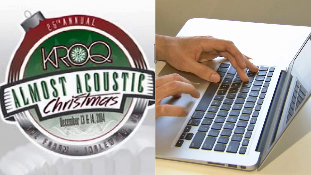 Left: The logo for KROQs 25th Almost Acoustic Christmas. Right: A man on a laptop.