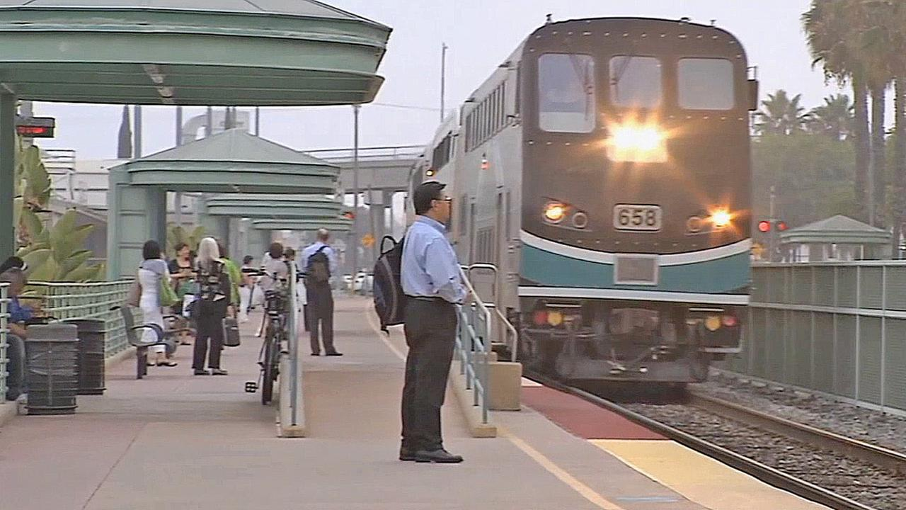 A train pulls into a station in Southern California in this file photo.
