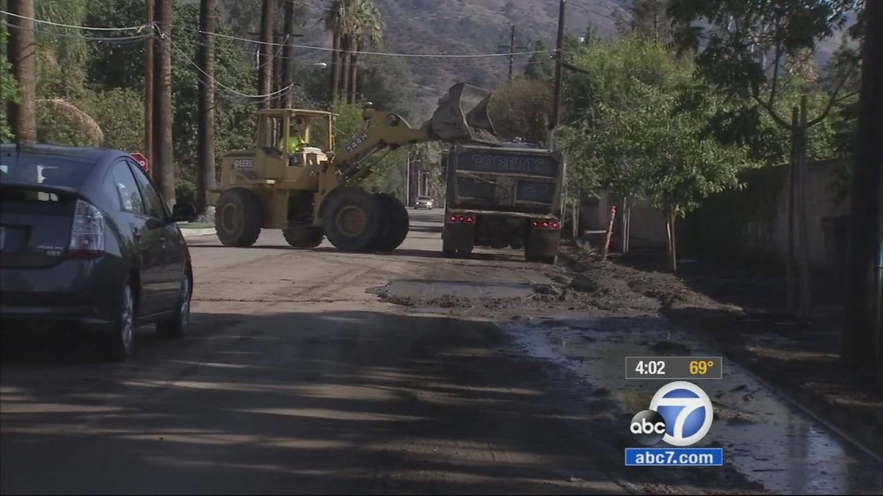 Some residents living near Januarys devastating Colby Fire woke up to a muddy mess Friday morning after overnight rain.