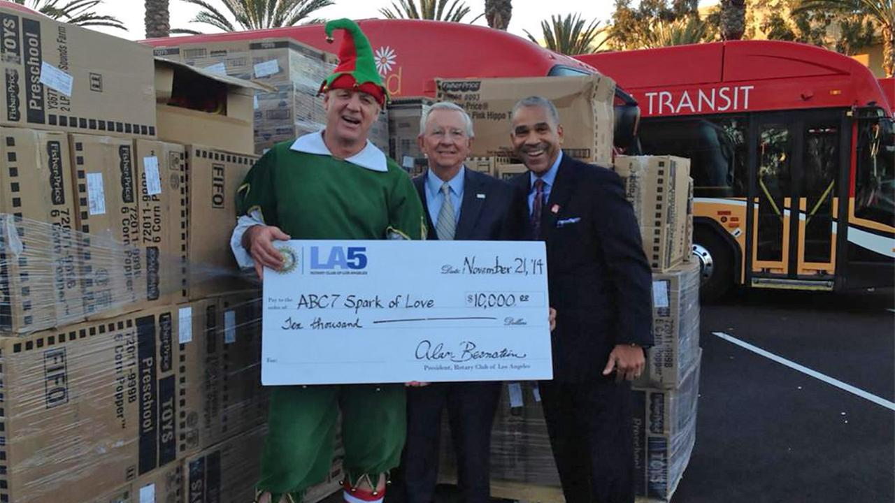 Thank you to the Rotary Club of Los Angeles for the generous donation of $10,000 worth of toys for our Spark of Love toy drive.