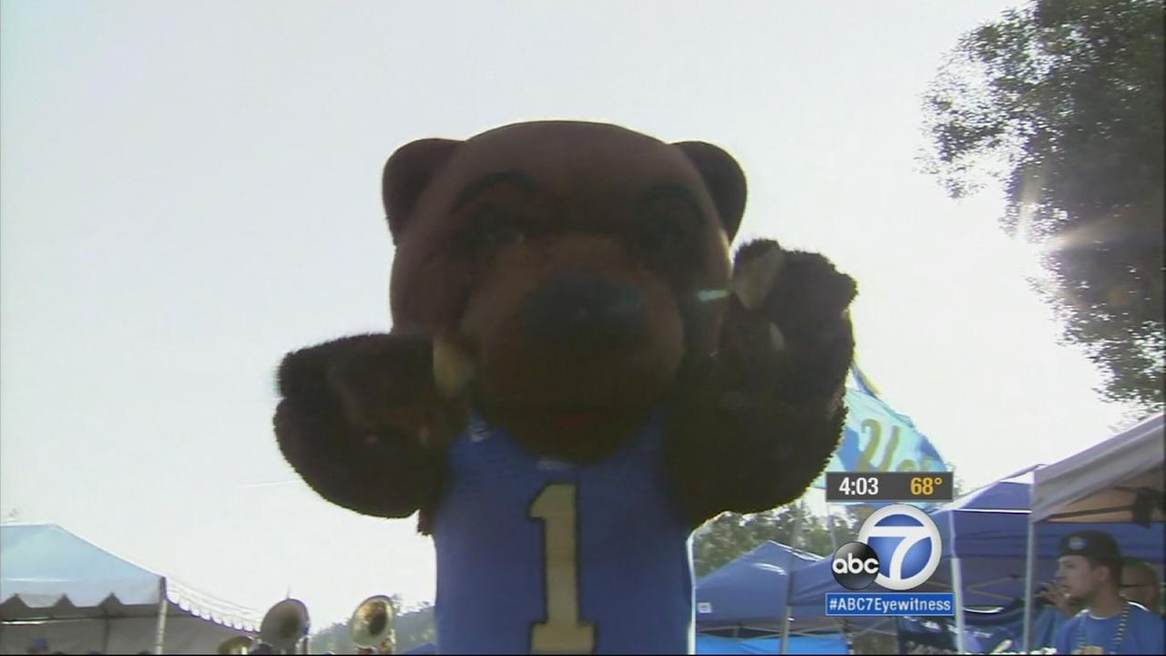 The UCLA Bruin mascot dances before a football games against USC on Saturday, Nov. 22, 2014.