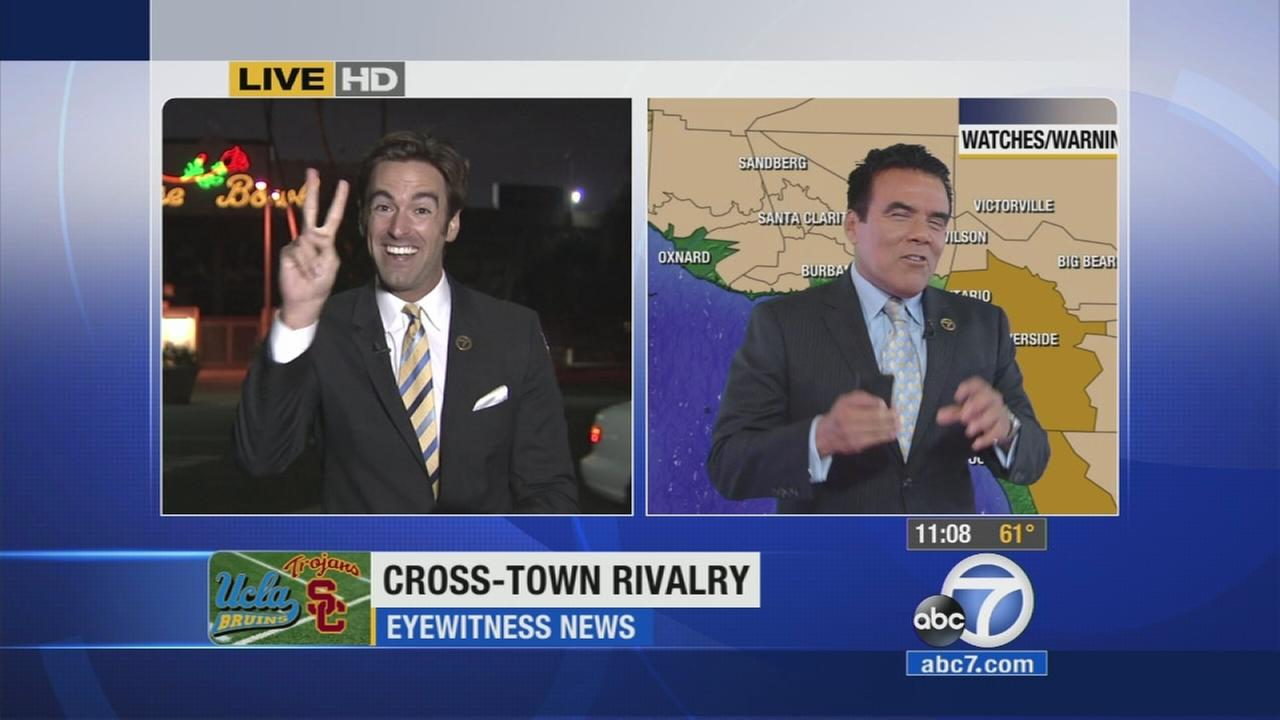 ABC7s Elex Michaelson and Danny Romero talk about the consequences of their bet on the USC-UCLA game on Saturday, Nov. 22, 2014.