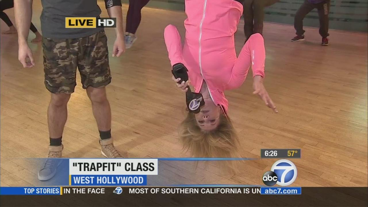 The Trapfit class at Crunch in West Hollywood incorporates a trapeze for a fun workout.