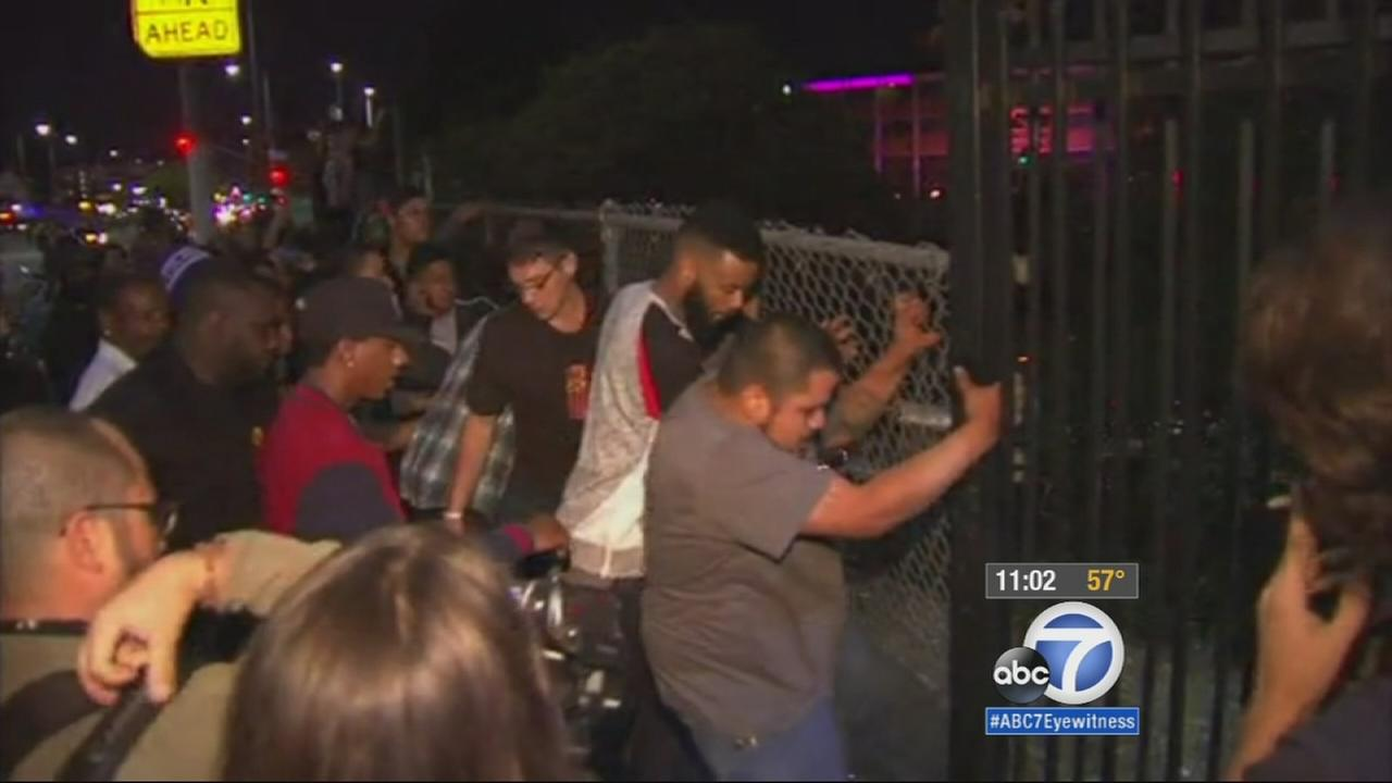 Ferguson protesters attempt to jump over a fence to block a freeway in Los Angeles on Nov. 25, 2014.