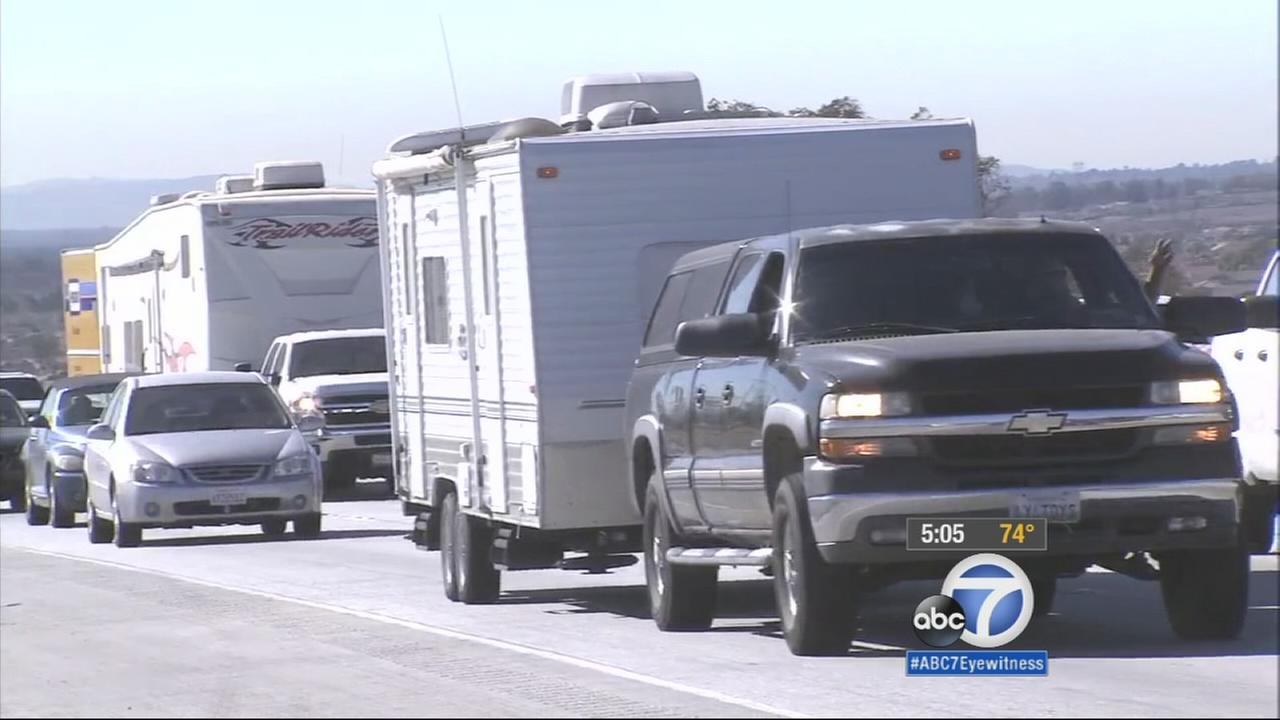 Thanksgiving drivers hit the road in the Inland Empire on Wednesday, Nov. 26, 2014.