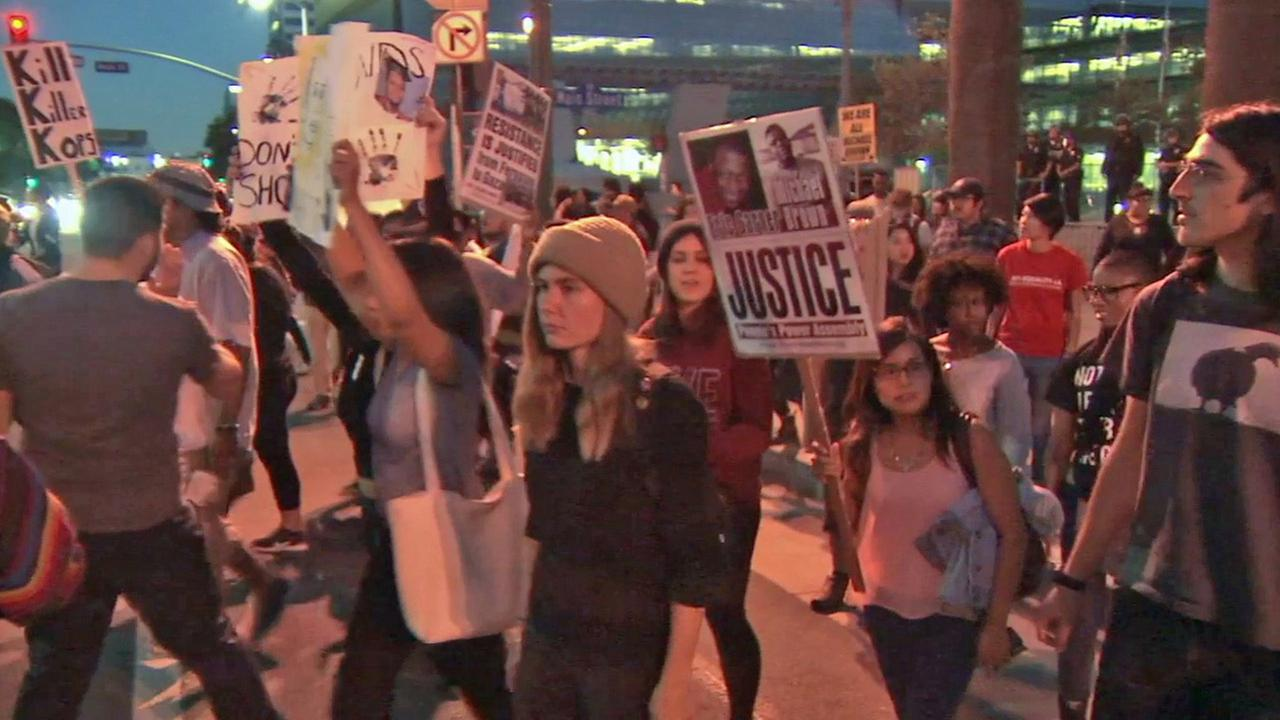Protesters are seen in downtown Los Angeles on Wednesday, Nov. 26, 2014.