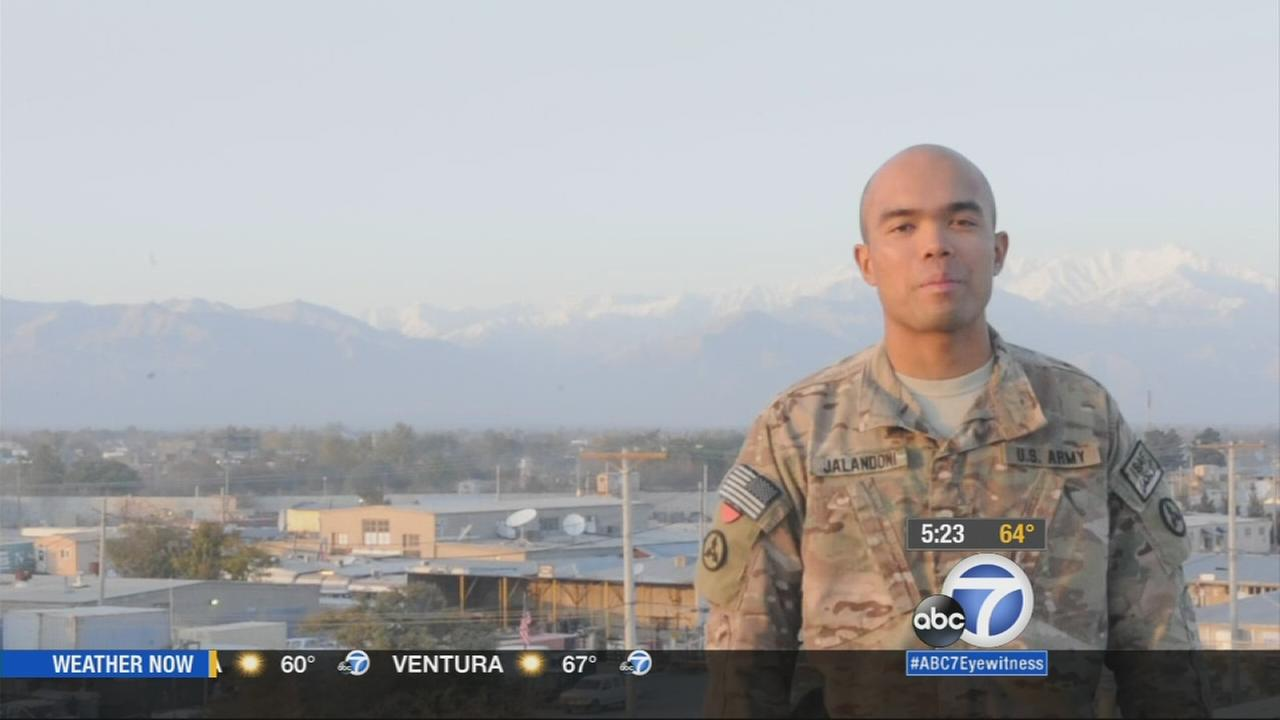 Maj. Jared Auchey Jalandoni, stationed in Bagram Airfield, Afghanistan, offers this holiday greeting to loved ones. (Aired 5 a.m. 11/27/14)