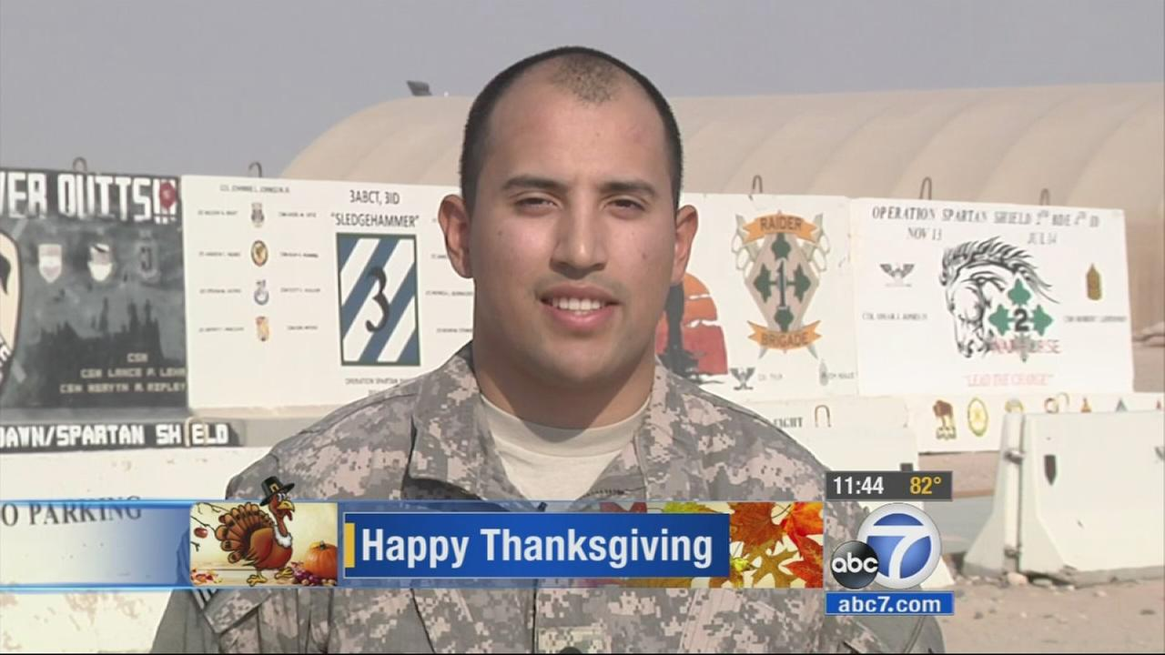 SPC Andrew Zapata offers this holiday greeting to loved ones. (Aired 11 a.m. 11/27/14)
