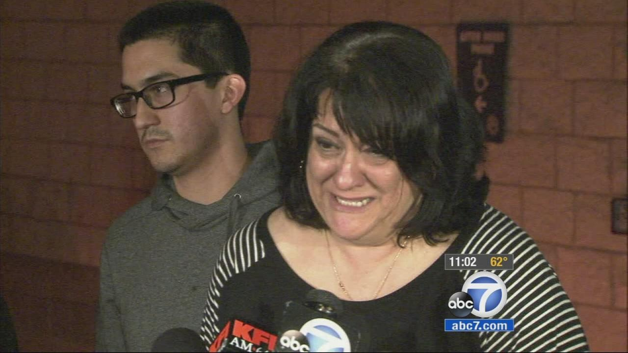 Family members speak at a news conference about a missing family from Montebello on Wednesday, Dec. 10, 2014.