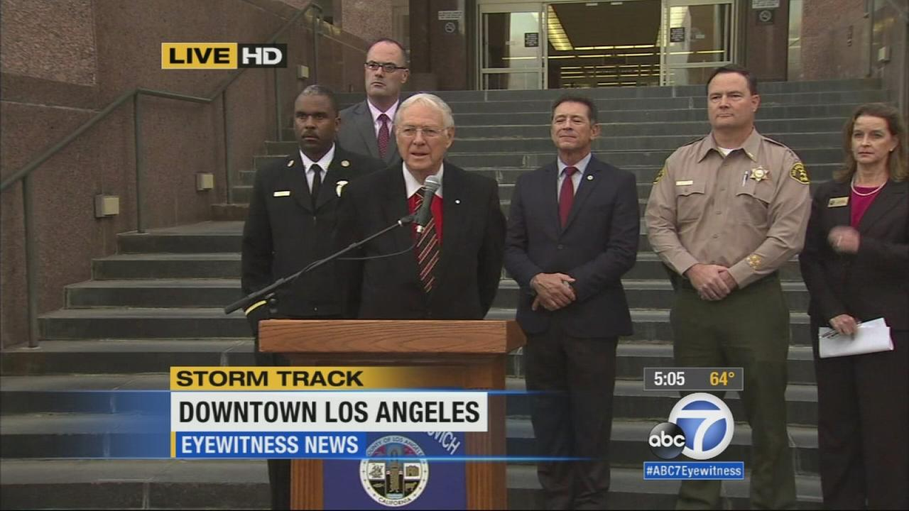 Los Angeles County officials held a news conference to discuss the emergency preparations taking place ahead of the incoming storm on Thursday, Dec. 11, 2014.