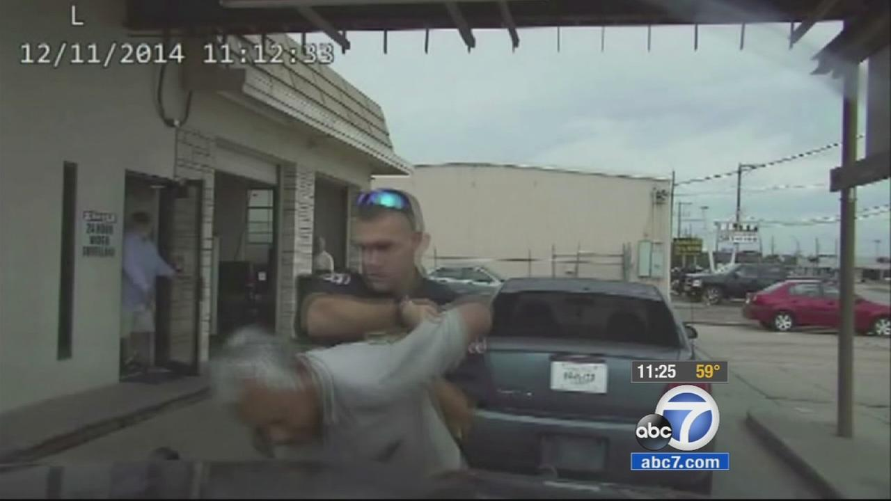 A Texas police officer wrestled an elderly man to the ground before Tasering him.