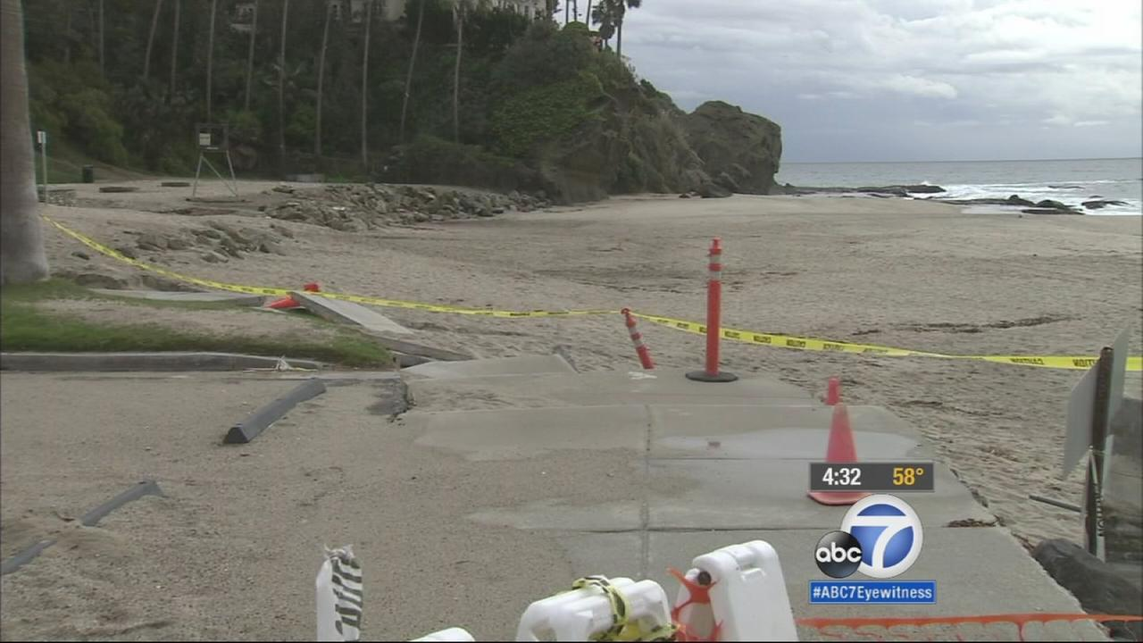 Laguna Beach is blocked off by caution tape on Tuesday, Dec. 16, 2014.