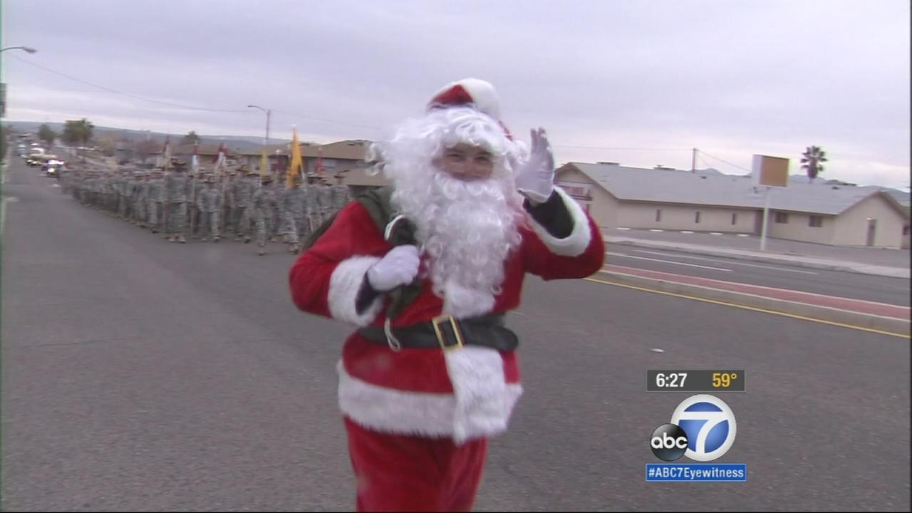 About 500 soldiers marched 38 miles from their base in Fort Irwin to the California Veterans Home in Barstow as part of an annual tradition.