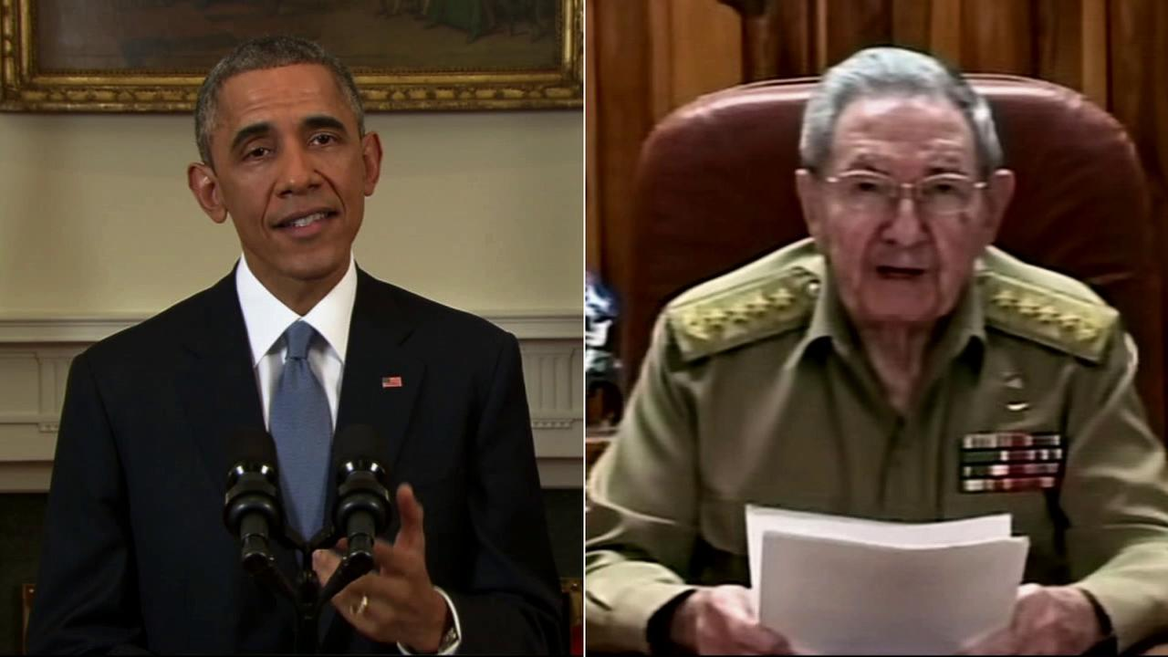 President Barack Obama (left) and Raul Castro (right) announce renewed relations between the United States Cuba on Wednesday, Dec. 17, 2014.
