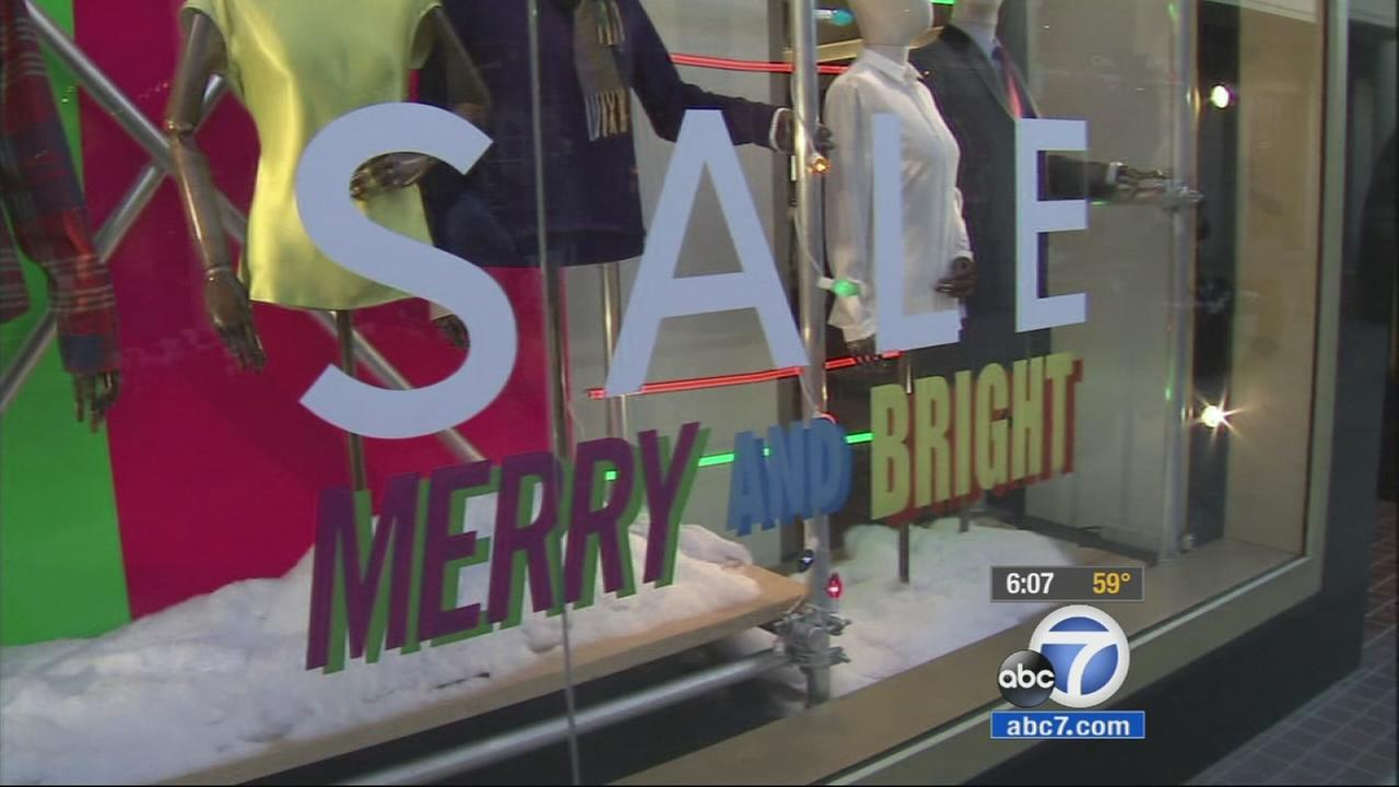 A window to a store at Westfield Century City mall is shown on Saturday, Dec. 20, 2014.